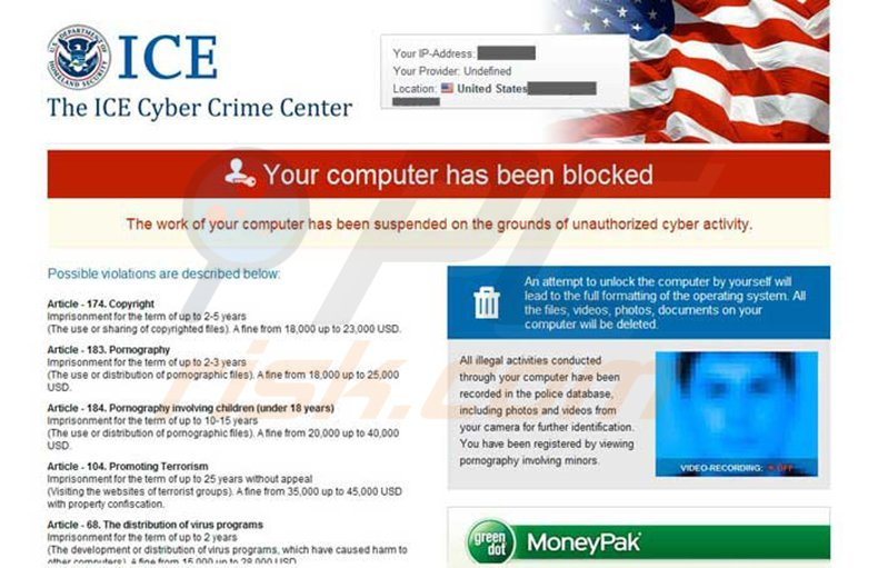 FBI Cybercrime Division Virus - Your computer has been blocked