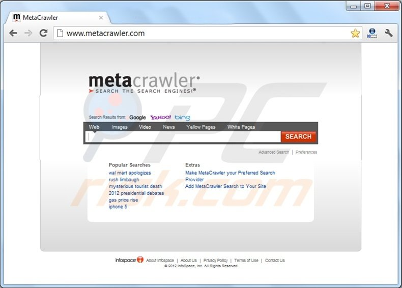 metacrawler redirect page
