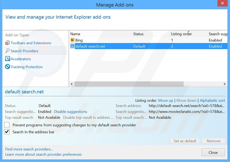 how to change default search engine in internet explorer 10