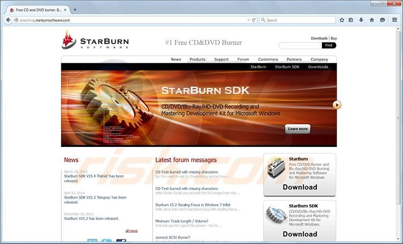 Searching.starnburnsoftware.com redirect