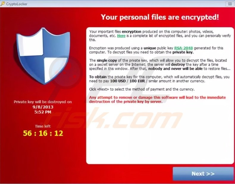 CryptoLocker ransomware warning message