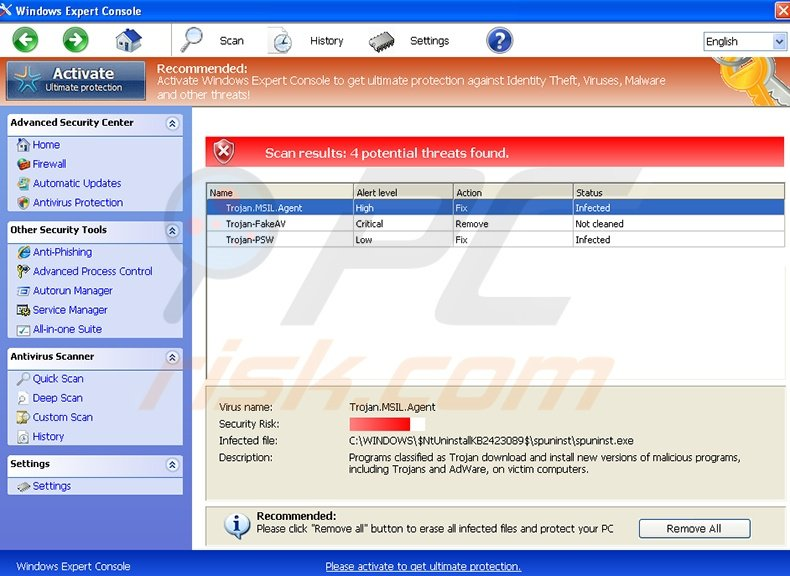 Windows Expert Console fake antivirus program