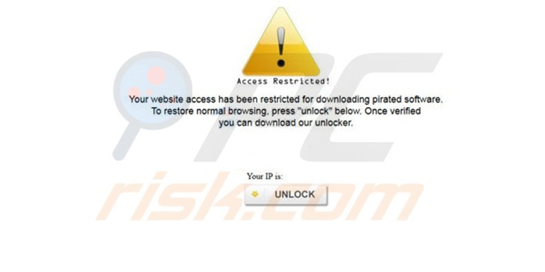 Your website access has been restricted for downloading pirated software - virus