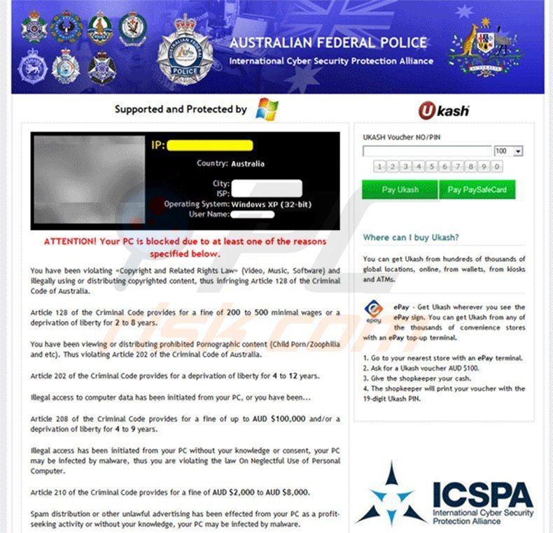 Australian Federal Police MoneyPak Virus - PC Blocked