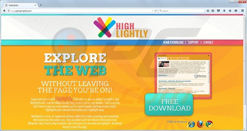 Highlightly virus homepage