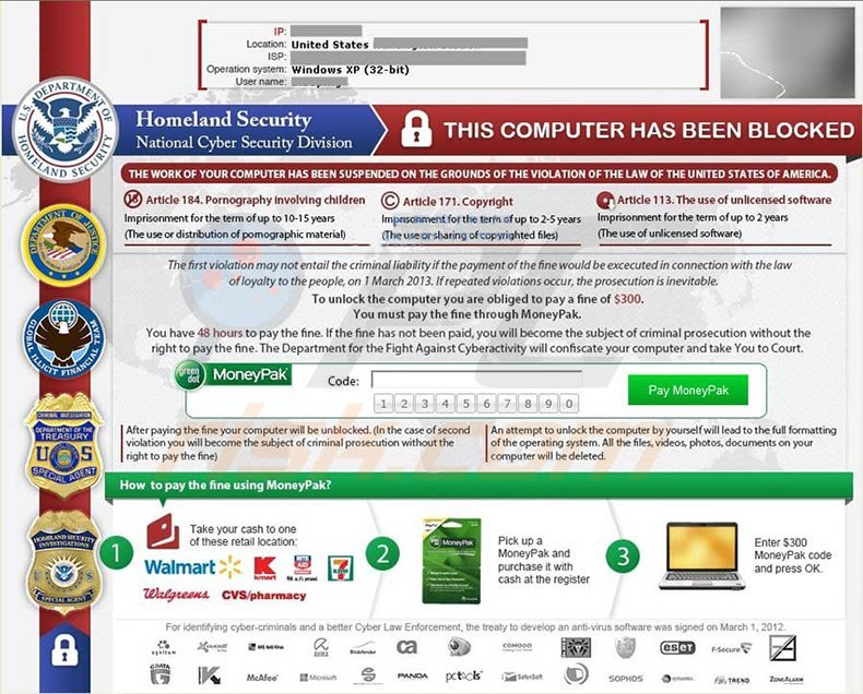 Homeland Security ransomware virus