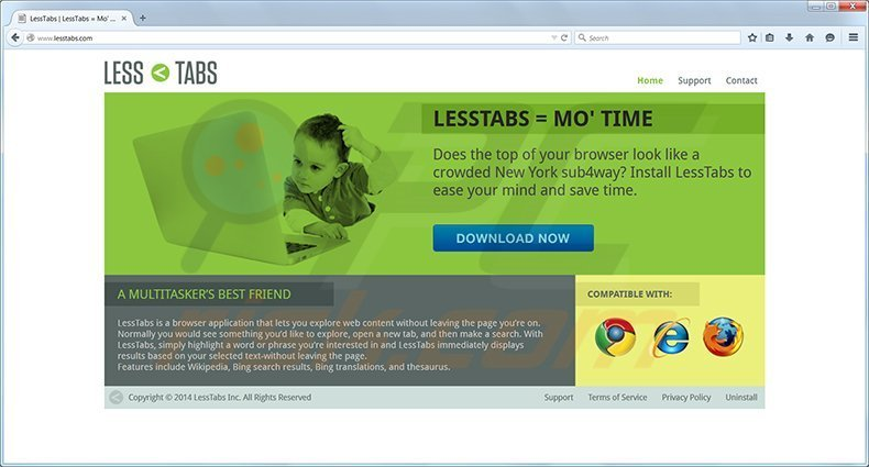 Less Tabs adware homepage