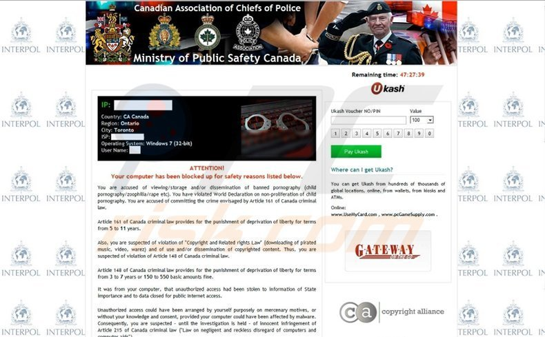 Ministry of Public Safety Canada scam