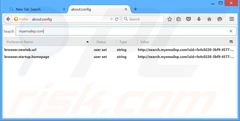 Removing search.myemailxp.com from Mozilla Firefox default search engine