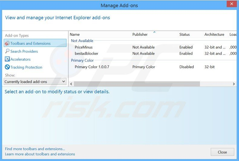 Removing offerswizard ads from Internet Explorer step 2