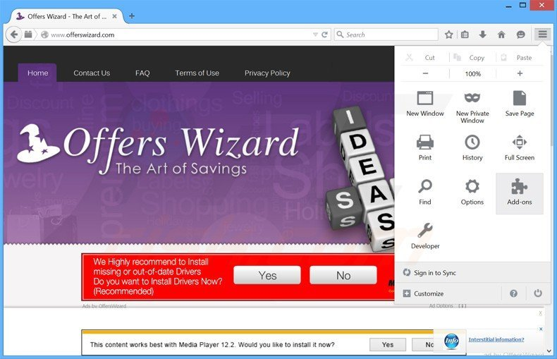 Removing offerswizard ads from Mozilla Firefox step 1