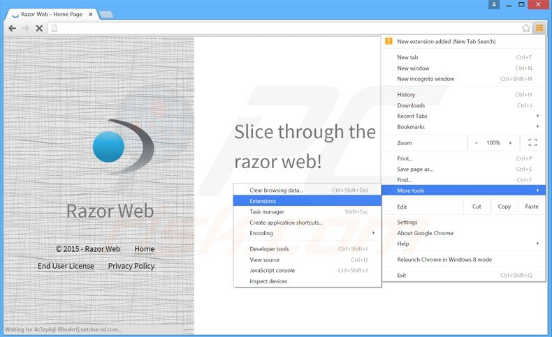 Removing razor web ads from Google Chrome step 1
