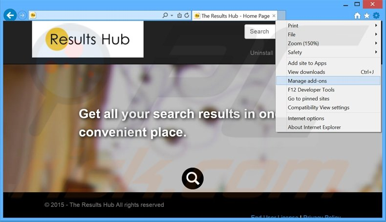 Removing The Results Hub ads from Internet Explorer step 1