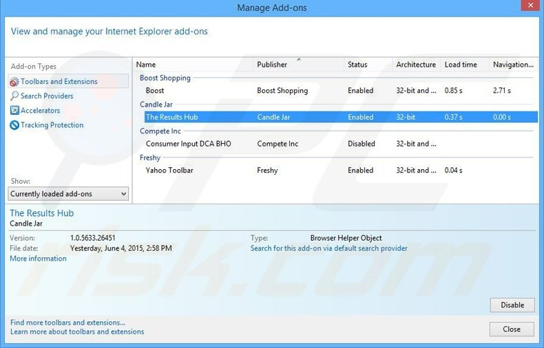 Removing The Results Hub ads from Internet Explorer step 2