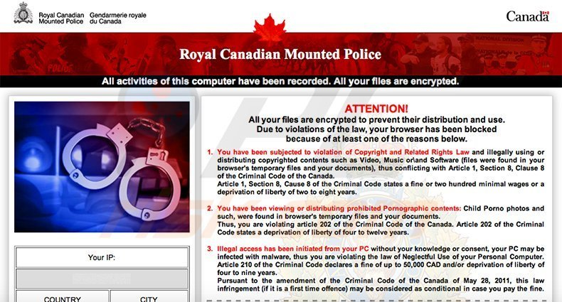 Royal Canadian Mounted Police - Your PC is blocked virus