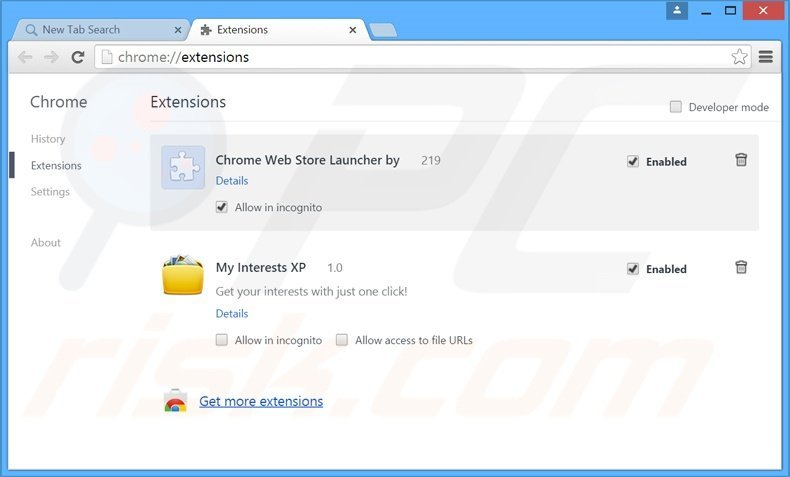 Removing searchsafe.com related Google Chrome extensions