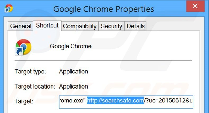 Removing searchsafe.com from Google Chrome shortcut target step 2
