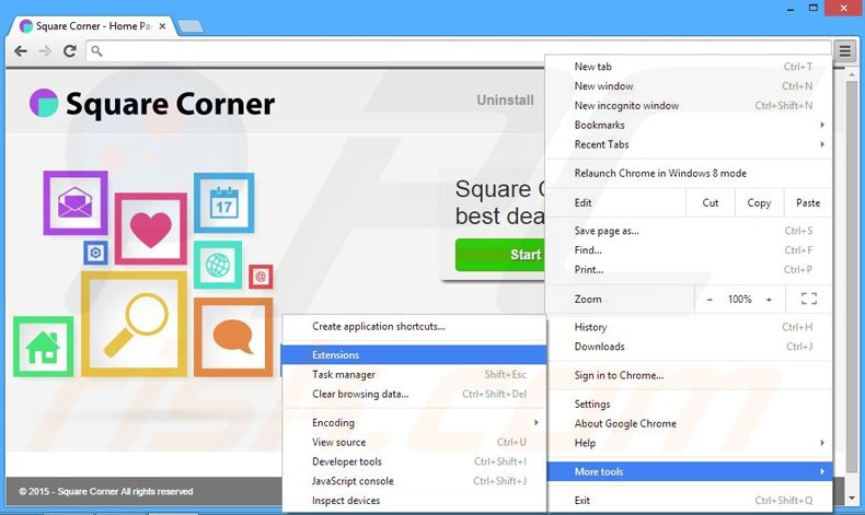 Removing Square Corner  ads from Google Chrome step 1