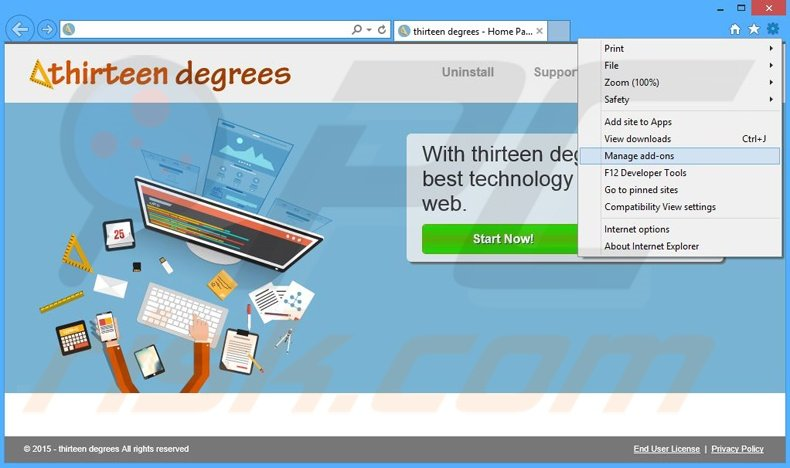Removing thirteen degrees ads from Internet Explorer step 1