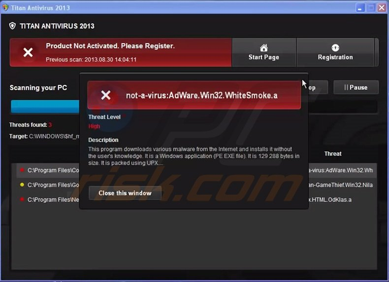 Titan Antivirus 2013 fake antivirus program