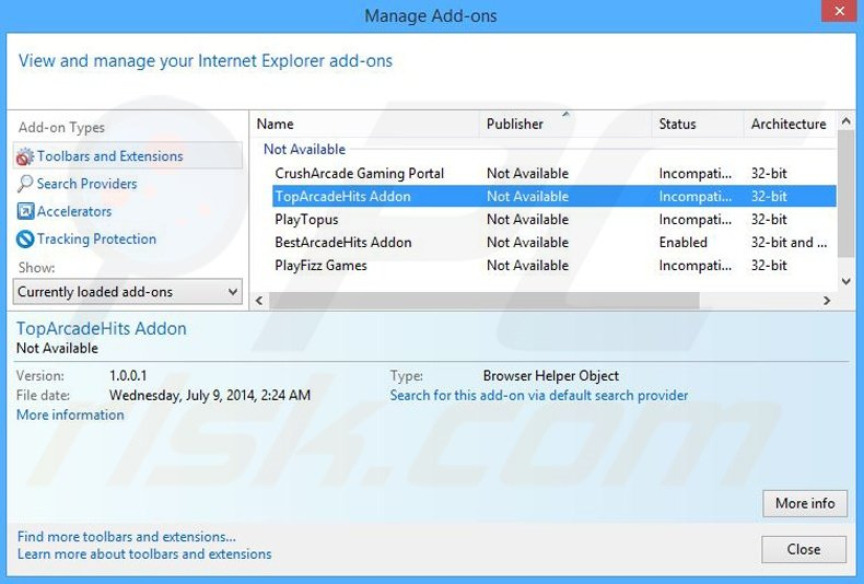 Removing TopArcadeHits ads from Internet Explorer step 2