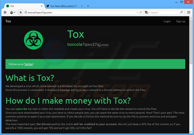 tox ransomware website