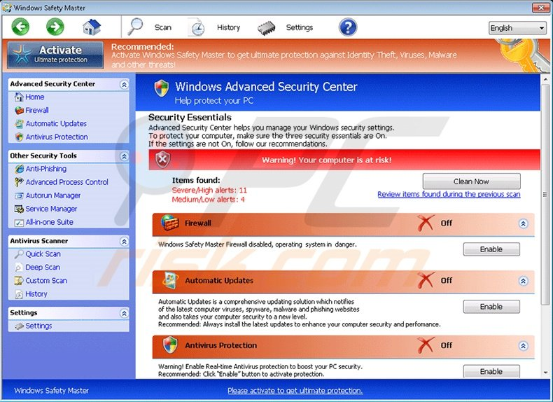 Windows Safety Master fake antivirus program