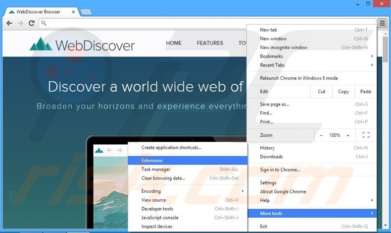 Removing WebDiscover ads from Google Chrome step 1
