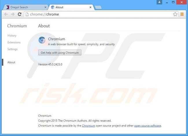 dregol browser hijacker installs a chromium web browser