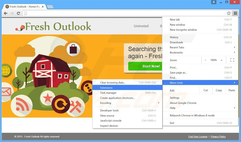 Removing Fresh Outlook  ads from Google Chrome step 1