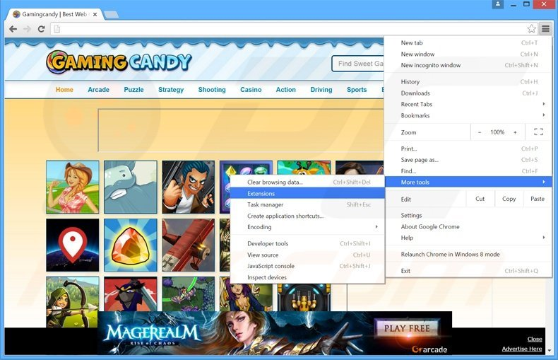 Removing GamingCandy  ads from Google Chrome step 1