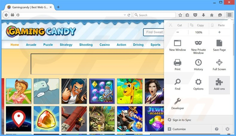 Removing GamingCandy ads from Mozilla Firefox step 1
