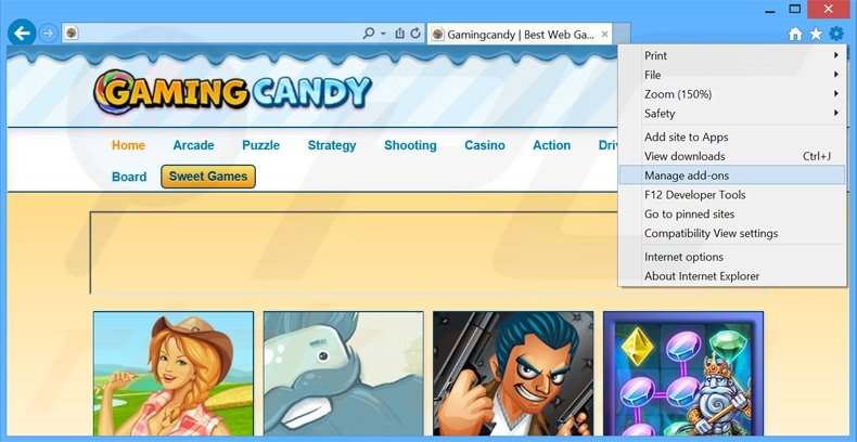 Removing GamingCandy ads from Internet Explorer step 1