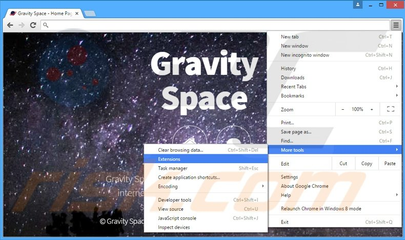 Removing Gravity Space  ads from Google Chrome step 1