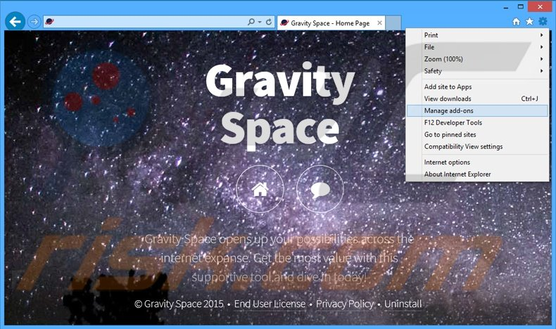 Removing Gravity Space ads from Internet Explorer step 1