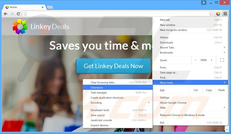 Removing Linkey Deals  ads from Google Chrome step 1