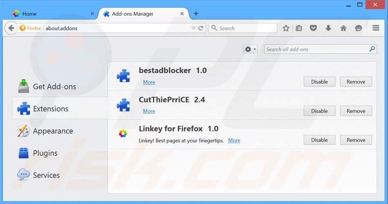 Removing Linkey Deals ads from Mozilla Firefox step 2