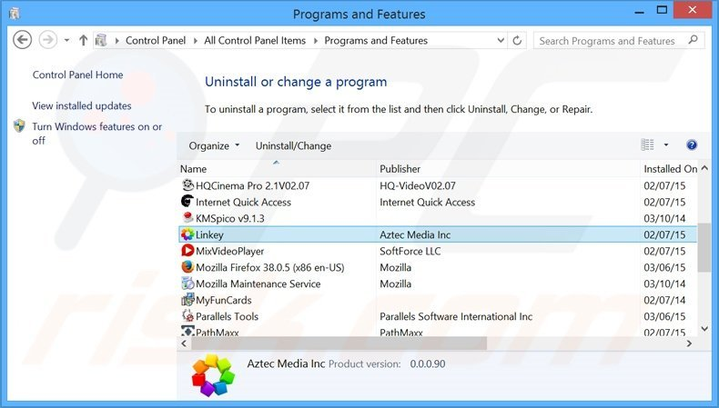 Linkey Deals adware uninstall via Control Panel