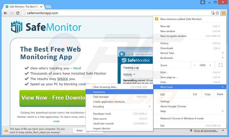 Removing safe monitor ads from Google Chrome step 1