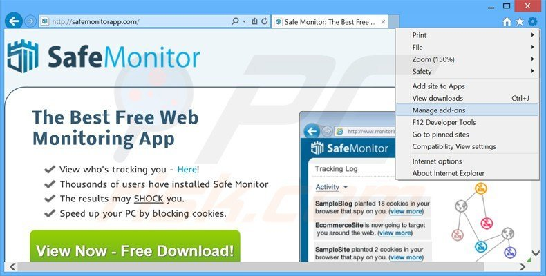 Removing safe monitor ads from Internet Explorer step 1