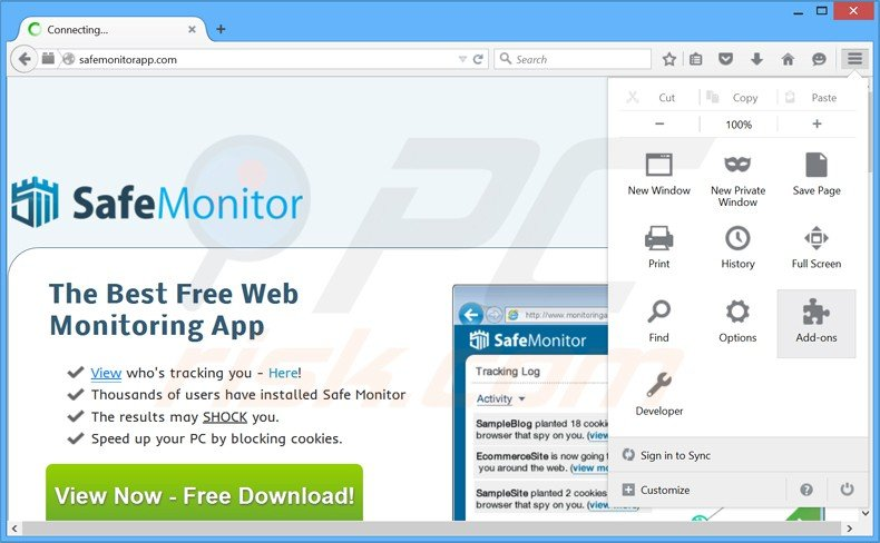 Removing safe monitor ads from Mozilla Firefox step 1