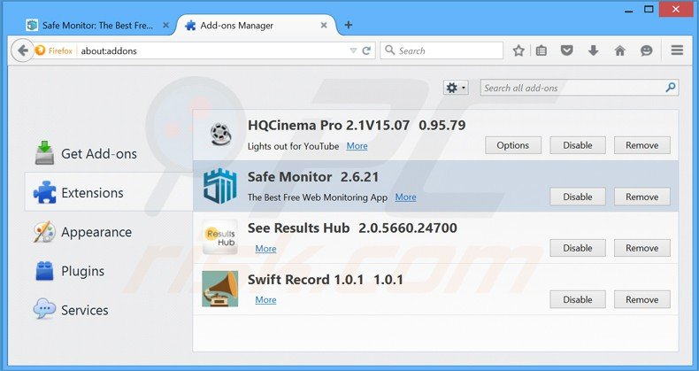 Removing safe monitor ads from Mozilla Firefox step 2