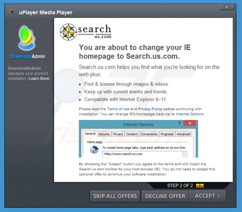 search.us.com browser hijacker installer