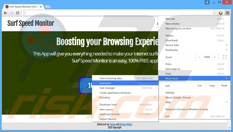 Removing Surf Speed Monitor  ads from Google Chrome step 1