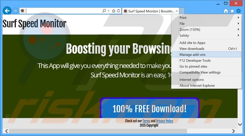 Removing Surf Speed Monitor ads from Internet Explorer step 1