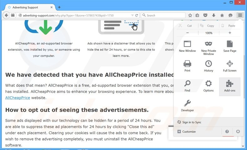 Removing Ads Remover ads from Mozilla Firefox step 1