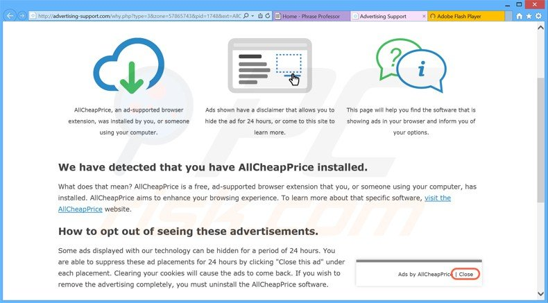 How to uninstall Ads by AllCheapPrice - virus removal