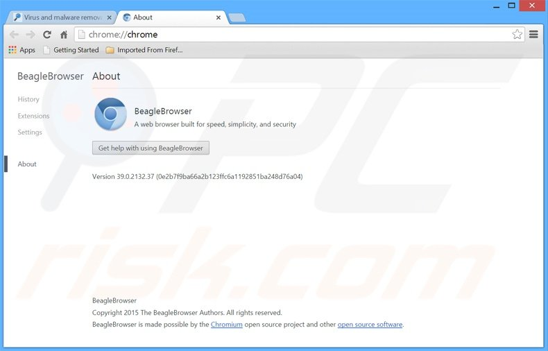 Deceptive BeagleBrowser adware application