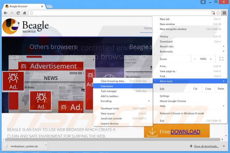 Removing BeagleBrowser  ads from Google Chrome step 1