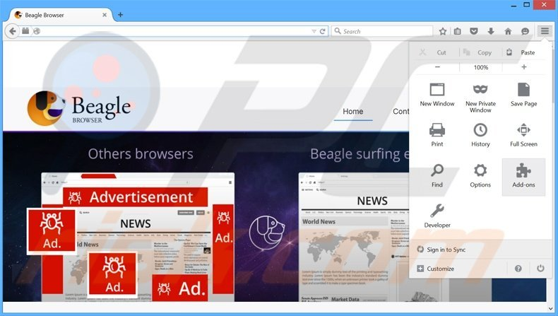 Removing BeagleBrowser ads from Mozilla Firefox step 1